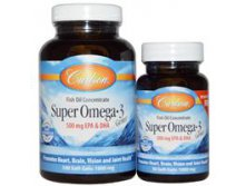 Carlson Labs, Super Omega·3 Gems, Fish Oil Concentrate, 1000 mg, 100 Soft Gels + Free 30 Soft Gels