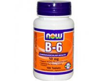 Now Foods, B-6, 50 mg, 100 Tablets