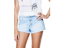 Kate Mid-Rise Frayed Denim Shorts in Space Blue Wash