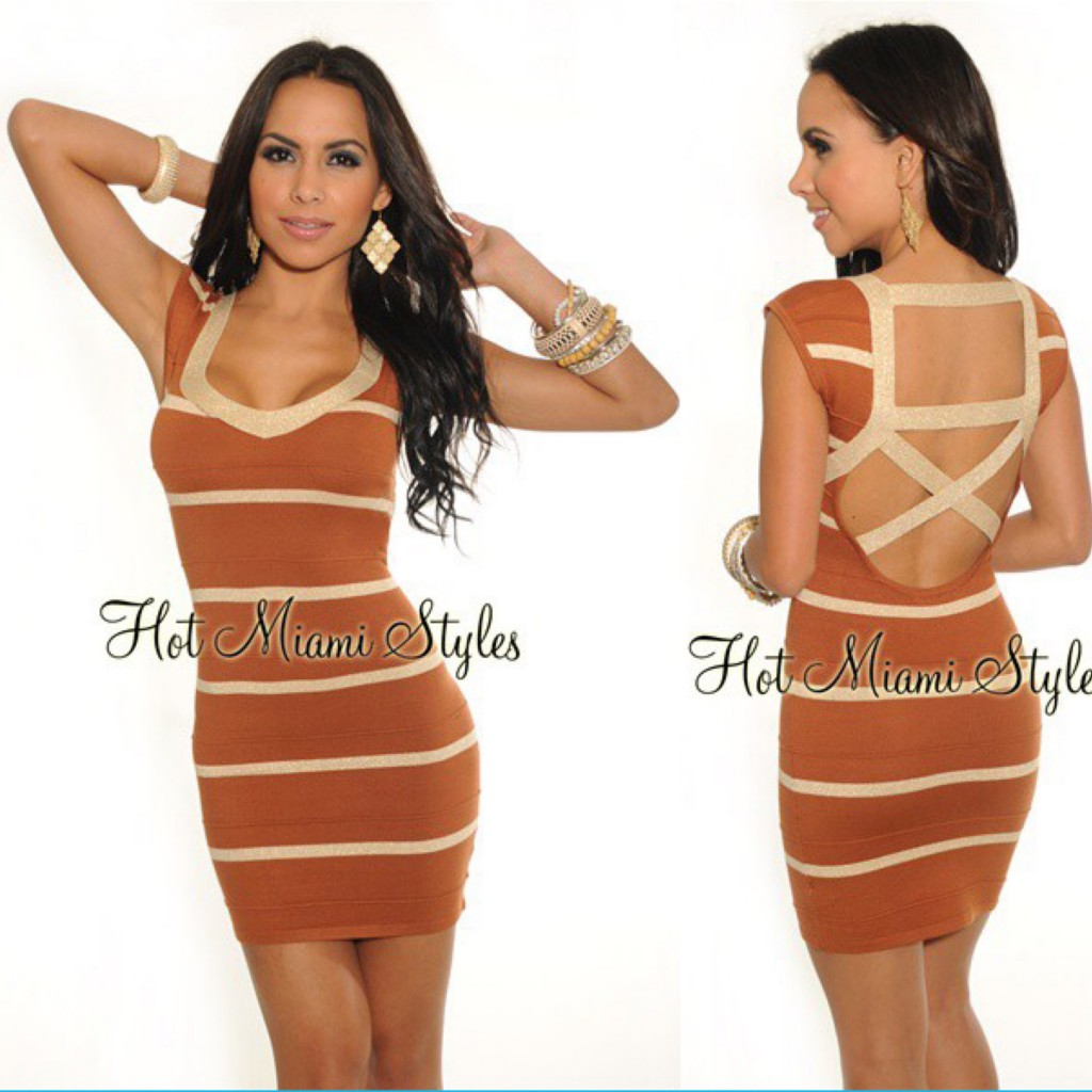 BROWN Gold Metallic Stripes Cage Back Bandage Dress (B817) - 1850Р +орг%