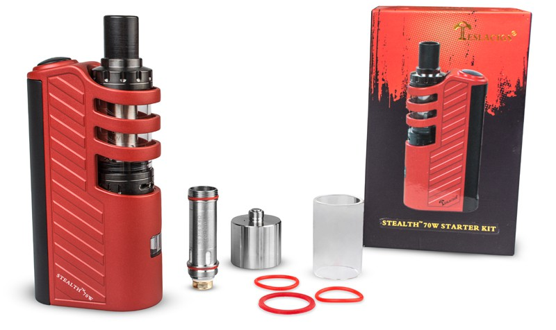 2690р.+13%. Бокс Мод Tesla Stealth. Shadow. kit. 18650. 70W Цвет Красный