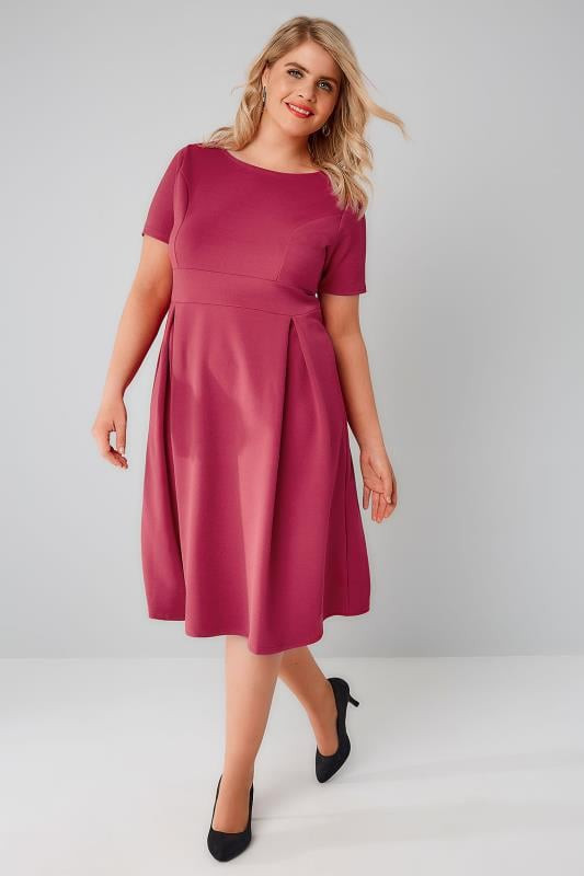 Https://www.yoursclothing.co.uk/raspberry-pink-skater-dress-with-pleated-skirt-p