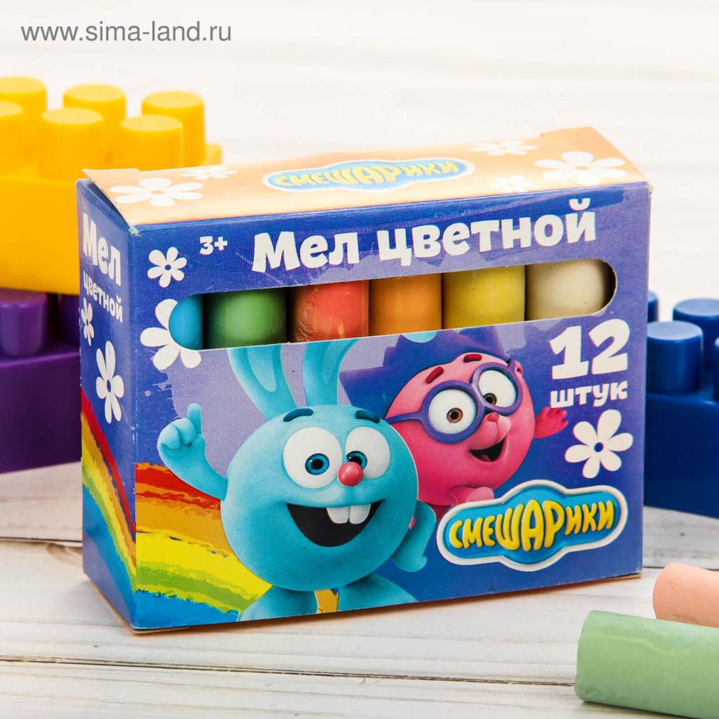 Фото Мелки школьные Крош и Ежик, СМЕШАРИКИ, 12 шт 6 цветов ...